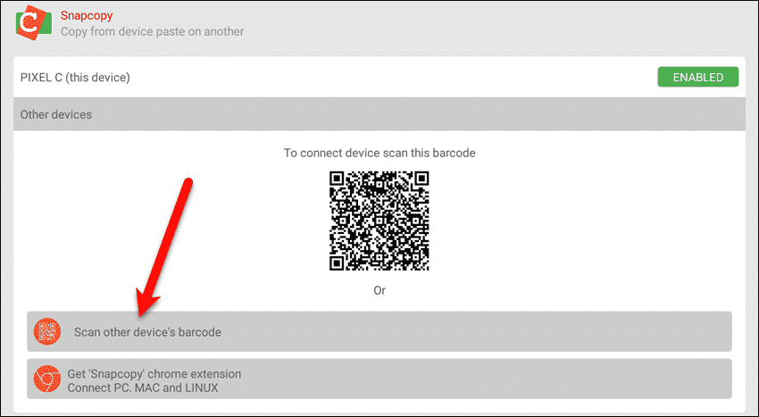 Tap Scan other device's barcode