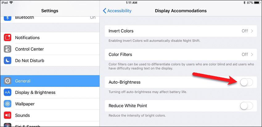 Turn off Auto-Brightness in iOS 11