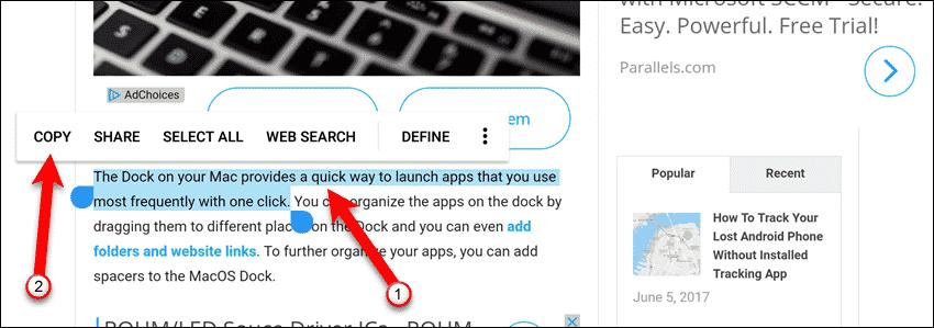 Copie texto en su dispositivo Android