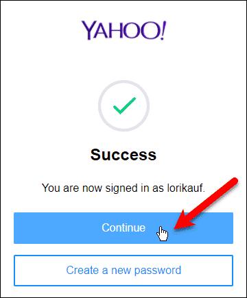 Sign in successful; Click Continue