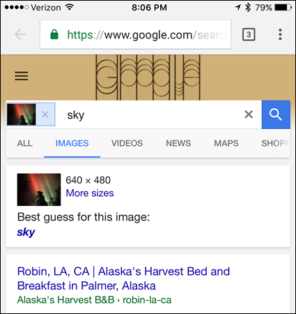 Reverse image search results on iOS