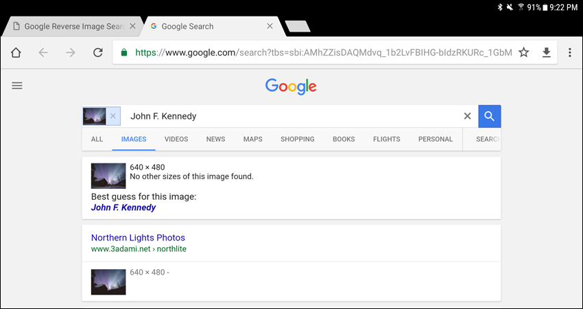 Reverse image search results on Android