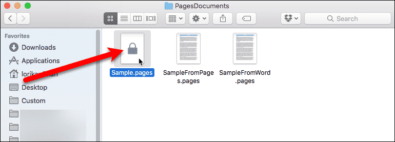 Lock on Pages document in Finder
