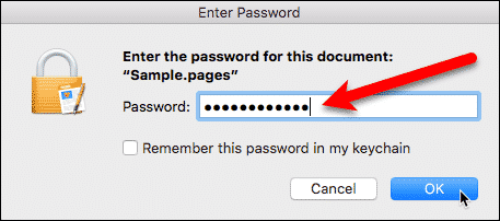 Enter password to open Pages document