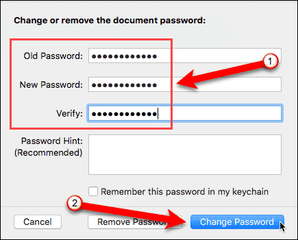 Change or remove document password